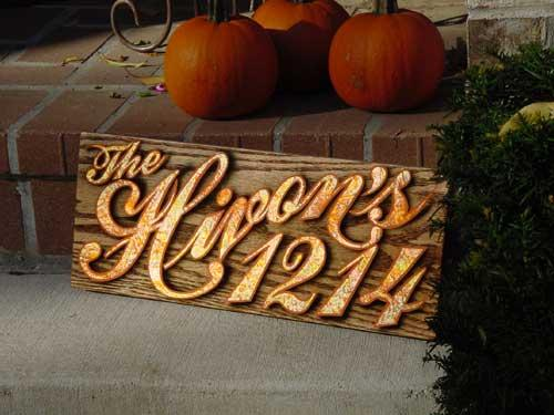 varigated gold leaf & oak address sign