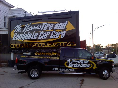 Original logo design, vinyl on aluminum 24'x10',& F350 Super Duty